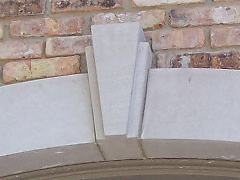 Limestone keystones - Covering brick fireplace with tile ...